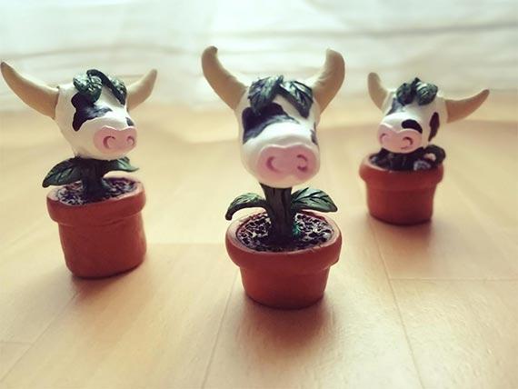 Babys Cowplant Clay Figure