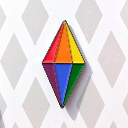 Rainbow Sims Plumbob Enamel Pin
