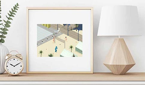 The Sims 1 Playing On The Beach Print