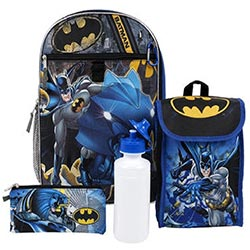 5 Piece 16 Inch Batman Backpack Set