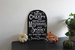 Addams Family Theme Song Customizable Tombstone Sign