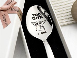Baby Yoda Too Cute I Am Personalized Stainless Spoon With Engraved Name
