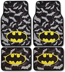 Batman Carpet Floor Mats 4 Piece Black Gray