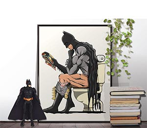 Batman Poster Superhero On The Toilet Restroom Wall Art