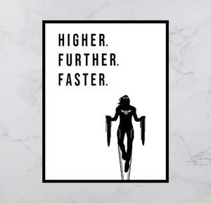 Captain Marvel Higher Further Faster Print