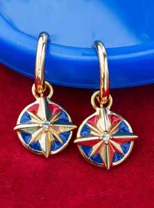 Captain Marvel Rocklove Enamel Star Hoop Earrings