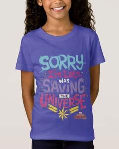 Captain Marvel Saving The Universe T Shirt For Kids