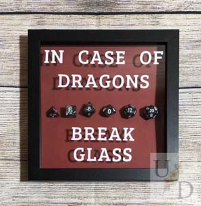 Customizable In Case Of Dragon Break Glass Dungeons And Dragons Shadowbox Gift