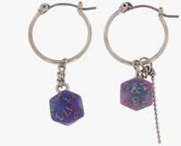 Dungeons And Dragons D20 Dice Mismatch Hoop Earrings