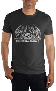 Dungeons And Dragons Dragons With D20 Shirt In Black