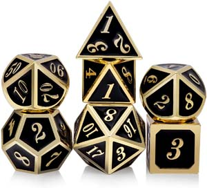 Dungeons And Dragons Metal Dice Set With Gift Metal Box And Gold Number For Dnd Role Playing Games