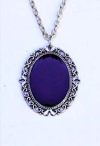 Morticia Addams Victorian Black Mirror Scrying Necklace