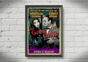 Morticia And Gomez Addams Old Timey Poster