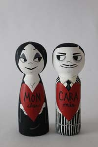 Morticia And Gomez Valentines Day Peg Dolls