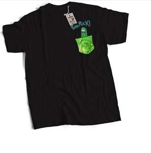 Pickle Rick And Tiny Rick Portal Pocket T Shirt