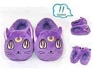 Purple Luna Cat Plush Slipper