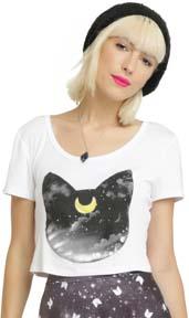 Sailor Moon Luna Head Girls Crop Top