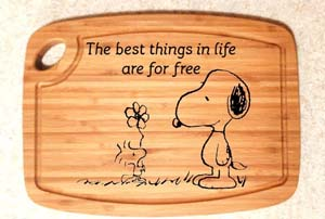 Snoopy And Woodstock Engraved Cutting Board