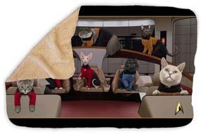 Star Trek The Next Generation Crew Cats Sherpa Blanket