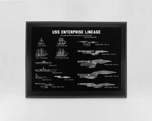 Star Trek Wall Hanging Wall Art Enterprise Star Ship Lineage Engraved Blueprint Plaque