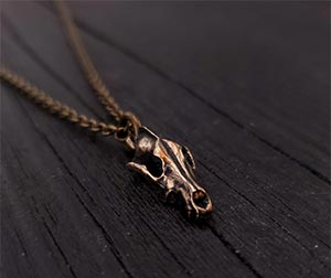 Tiny Grey Wolf Skull Charm Pendant Necklace