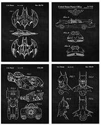 Vintage Batmobile Patent Poster Prints Set Of 4 8x10