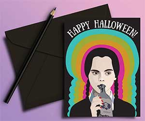 Wednesday Addams Happy Halloween Card