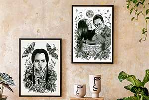 Wednesday Addams And Morticia Gomez Art Print Bundle