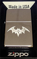 Zippo Custom Lighter Dark Bat With Gothic Cross Tattoo High Polish Chrome