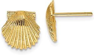 14k Yellow Gold Mermaid Sea Shell Jewelry