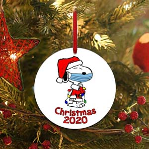2020 Snoopy With Mask Christmas Ornament