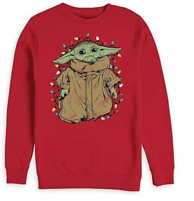 Baby Yoda With Holiday Lights Pullover For Men