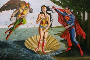 Birth Of Wonder Woman Superhero Botticelli Mashup