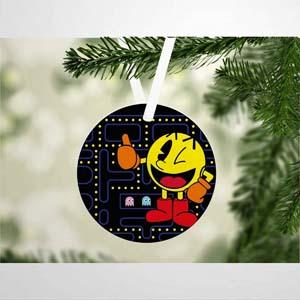 Ceramic Pac Man Christmas Ornament