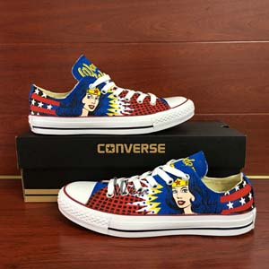 Converse Wonder Woman Low Top Hand Painted Shoes