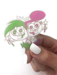 Cosmo & Wanda Clear And Neon Vinyl Sticker