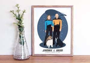 Custom Hand Drawn Couple Portrait Gift With Star Trek Themed Outfits