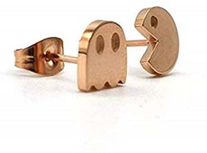 Cute Gold Gamer Pacman Stud Earrings