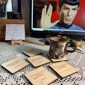 Dr Spock Quotes Wooden Engraved Coasters