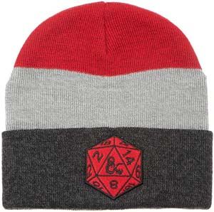 Dungeons And Dragons Game Red And Grey Striped Marled Knit Hat