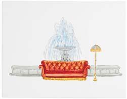 Friends Fountain Scene Canvas Art Print