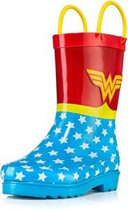 Girls Wonder Woman Printed Waterproof Rain Boots