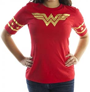 Gold Foil Striped Sleeves Wonder Woman T Shirt