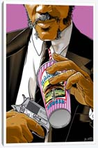 Jules With Gun In One Hand And Big Kahuna Cup In Other Canvas Print