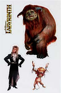 Labyrinth Magnet Set Featuring Ludo, Firey, And David Bowie As Jareth The Goblin King