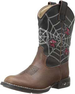 Light Up Spiders Western Boot For Kids