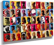 Marvel Super Hero Head Characters Poster Canvas Print