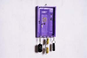 Monicas Door Purple Wooden Key Holder