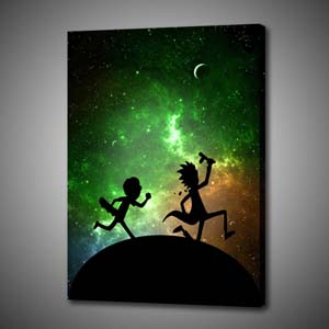No Frame Canvas Print Of Rick & Morty Running Through Galaxy