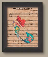 Part Of Your World Sheet Music Art Print The Little Mermaid